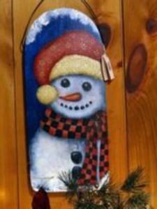 Frosty Snowman wood wall hanger