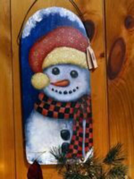 Frosty Snowman wood wall hanger