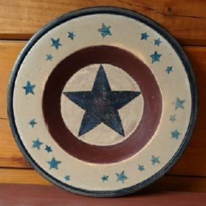 Folk Art Americana Wood Plate