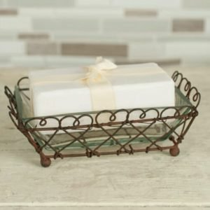 Looped rectangular rustic soap dish
