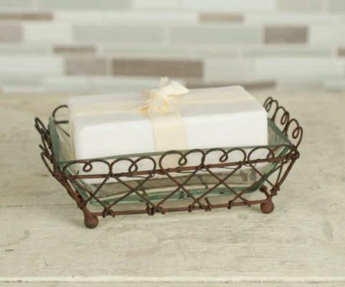 Looped rectangular rustic soap dish