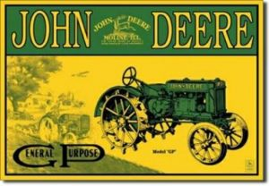 John Deere model GP tin sign