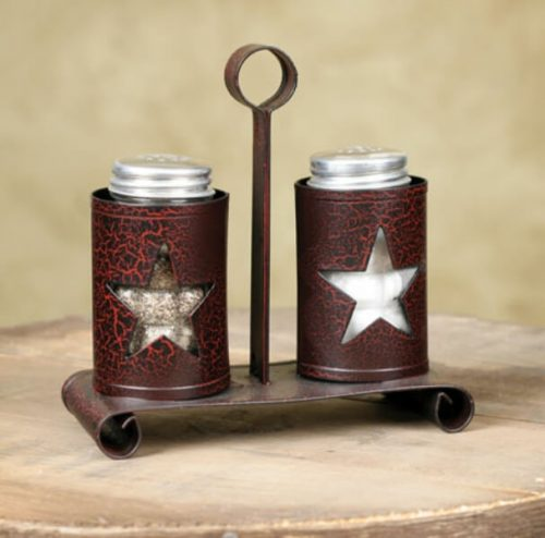Tin salt and pepper shakers