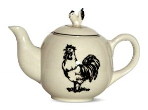 Black rooster ceramic tea pot
