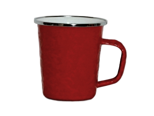 Red enamel late mug