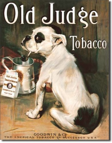 Old Judge Tobacco tin sign