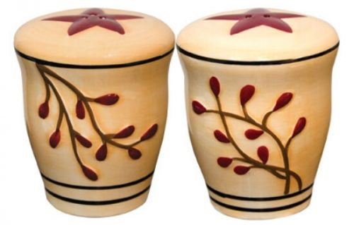 Salt pepper shakers ceramic berry vine
