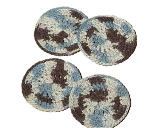 Blue brown round coasters