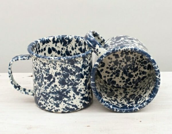 Enamel mug 12 oz. splatterware marbled mug