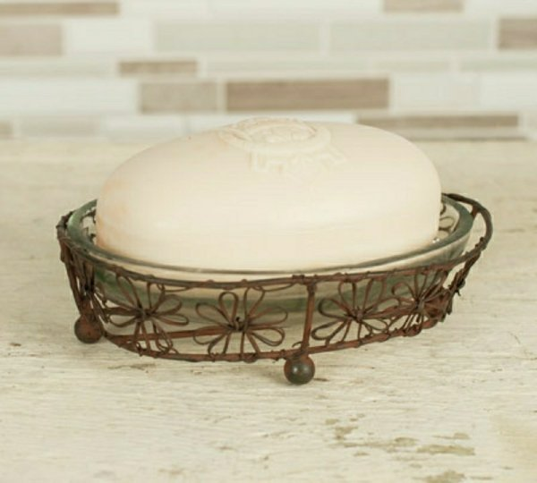 Oval wired soap dish floral
