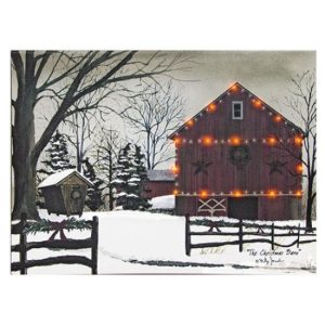 Christmas Barn Lit Canvas