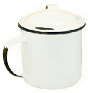 Covered enamel mug 32 ounce