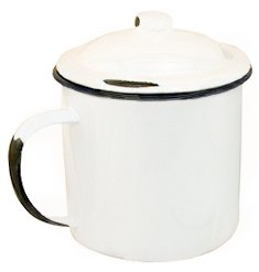 Enamelware mug covered distressed finish