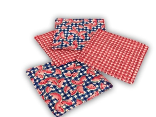 Red check and watermelon fabric coasters