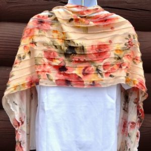 Ruffled Floral Print Scarf