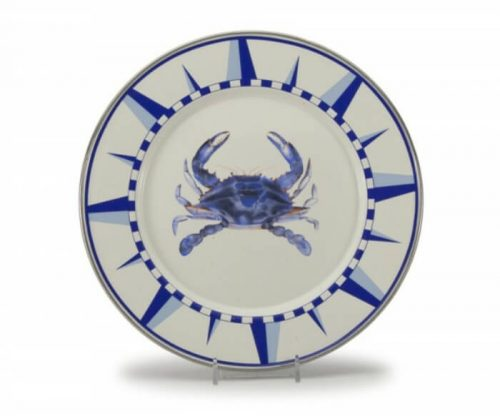 Blue crab enamel dinner plate