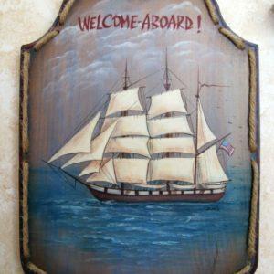 welcome nautical wood sign