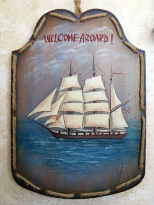 welcome nautical wood sign