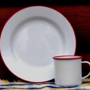 Vintage white enamelware buffet plate