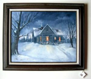 Farmhouse snow scene painting