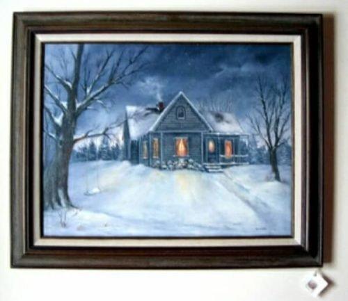 Farmhouse snow scene painting