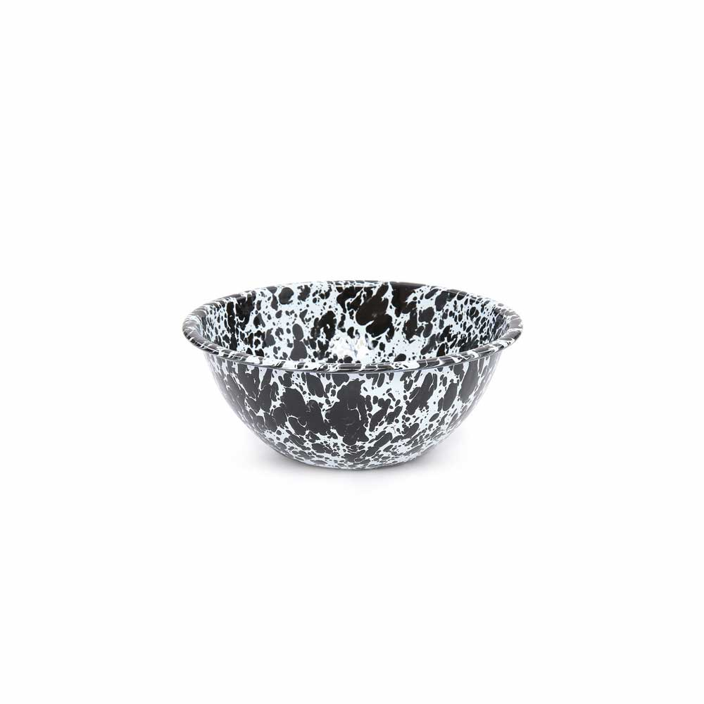 Enamel black marble serving bowl