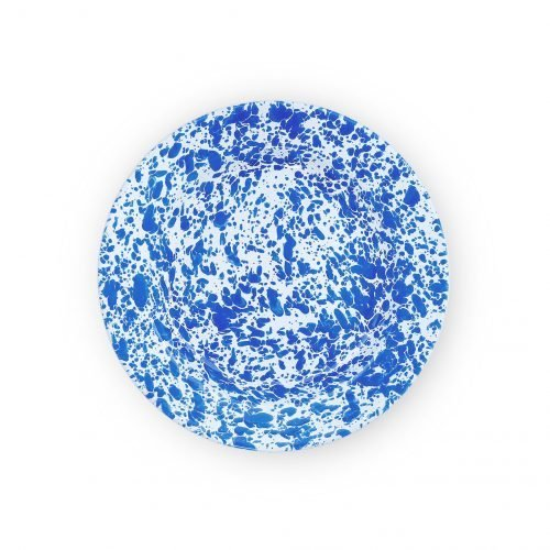 Crow Canyon Home blue marble enamel plate