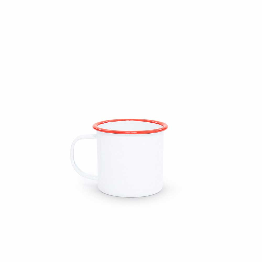 Vintage white red trim 12 ounce enamel mug