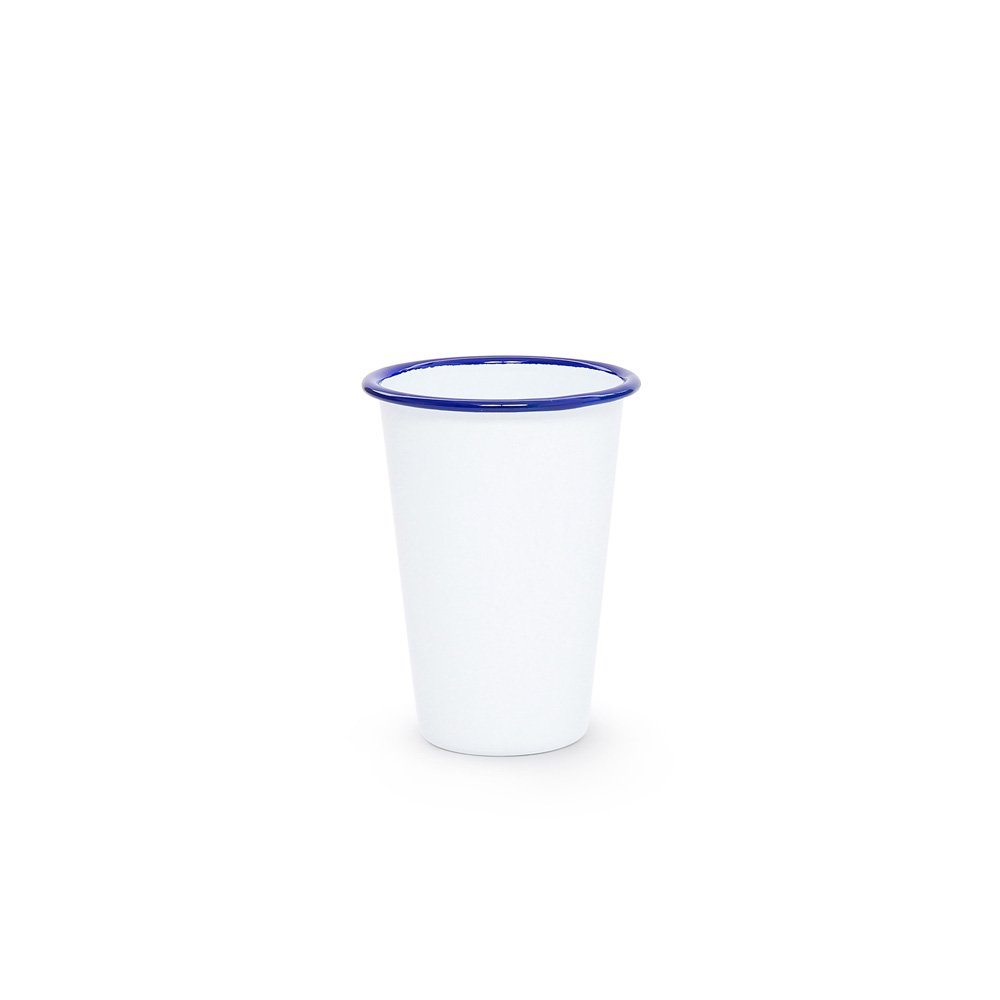 White enamel 14 oz tumbler blue trim