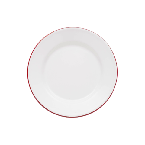 white enamel flat salad plate