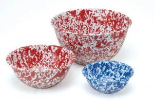 Splatterware marbled enamel bowls.
