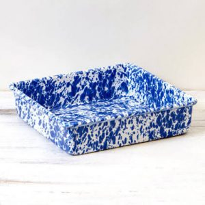 Square enamel brownie pan blue marble