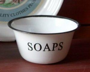 Vintage style enamel soap bowl