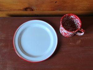 Flat salad plate vintage white enamelware