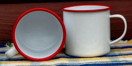 Jumbo white enamel mug 24 ounce