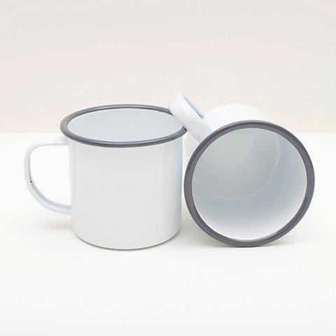 Vintage white enamelware mug 12 ounce