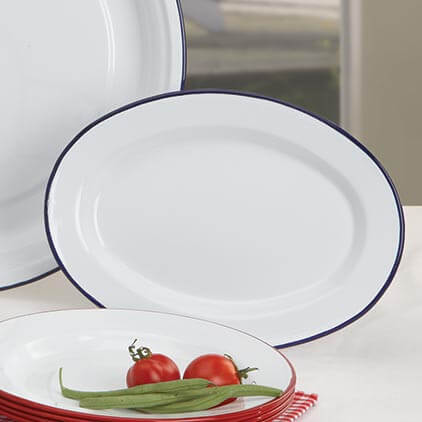 Oval Enamel Lunch Plate Vintage White