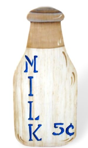 Five cent painted wood bottle