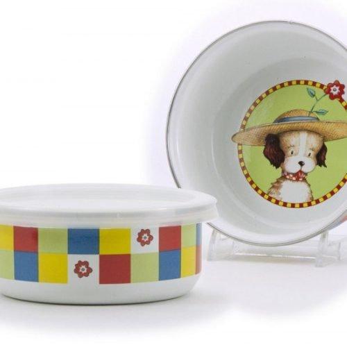 puppy enamel bowl