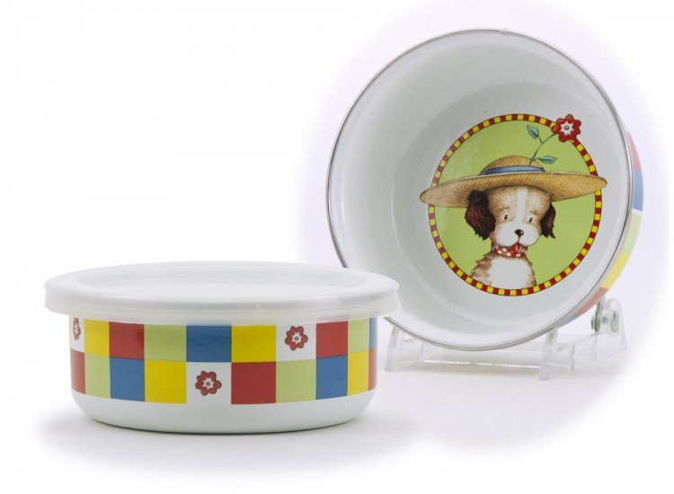 Child's enamelware dish set, puppy