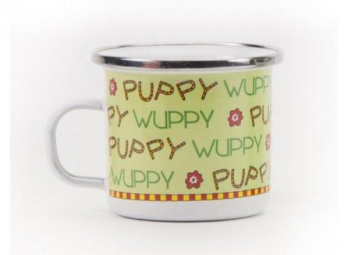 puppy enamel mug