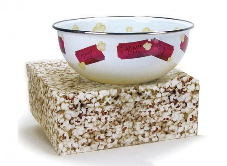 Enamel pop corn bowl, ticket