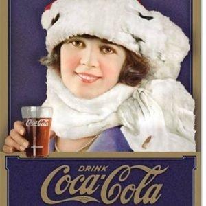 Coke Winter Girl tin sign